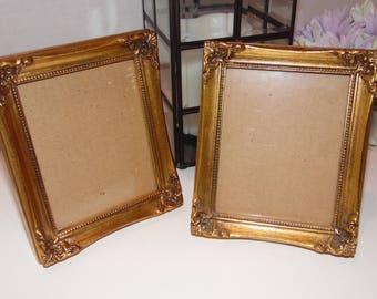 Set of 2 Picture Frames Vintage Matching Set Gold Toned Photo Frame