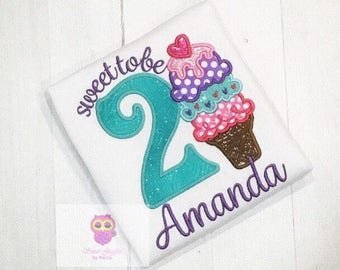 Ice cream cone birthday shirt - Sweet to be... 1, 2, 3, 4, 5, 6 etc