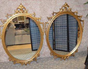 Vintage Pair of Regency Style Ornate Gold Oval Wall Mirrors