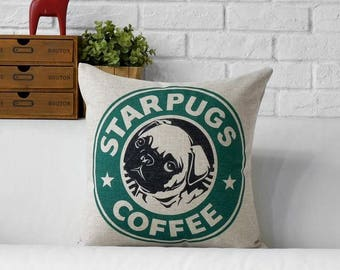 STAR PUGS COFFEE Pug Pillow Cover Pillow Case Cushion Cover