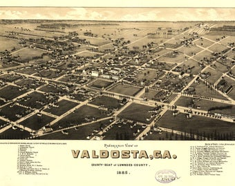 Valdosta, GA. Panoramic map from 1885. This print is a wonderful wall decoration for Den, Office, Man Cave or any wall