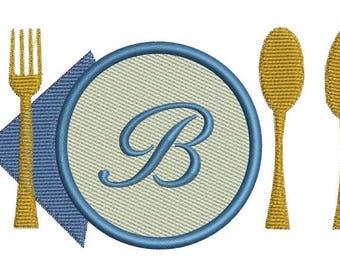set of late, fork in applisue embroiderydesign