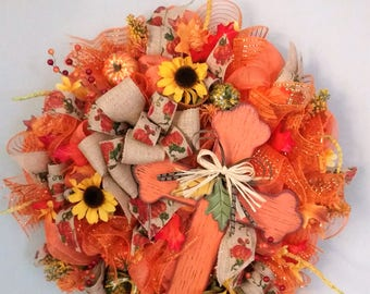 Fall Wreath,Fall Door Wreath,Wreath with Cross,Autumn Wreath,Sun Flower Wreath,Fall Decor,Fall Decorations,Front Door Wreath,Orange Wreath