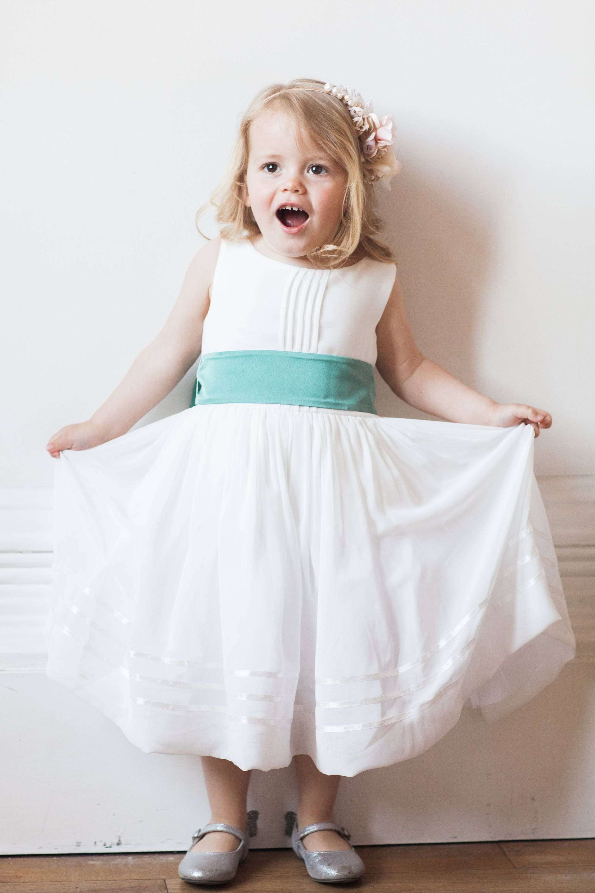 White flower girl dress with bright pink sash available in 37 white flower girl dress with bright pink sash available in 37 colours by matchimony mightylinksfo