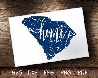 Distressed South Carolina SVG, Southern SVG, State svg, SVG Home, Vector Art File, Cricut Design Space, Silhouette Digital Cut Files - CA513