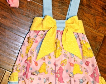 Baby Girls Princess Romper- Toddler Girls Princess Romper- Big Bow Romper- Ruffle Bottom Romper- Bubble Suit - 3m, 6m, 12m, 18m, 2t, 3t, 4t