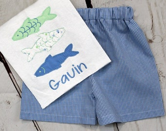 Boys Fish Shirt- Toddler Boys- Fish Trio Shirt- Baby Boys- Monogrammed- Applique Fish Shirt- Gingham Shorts- 6m, 12m, 18m, 2t, 3t, 4t, 5, 6
