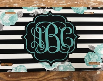 Monogram License plate turquoise floral black and white striped monogram car tag personalized car tag personalized license plate