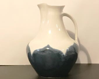 Vintage White and Blue Studio Pottery Pitcher