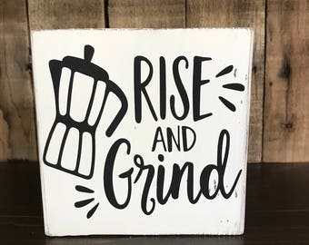 Funny Kitchen Signs, Kitchen Decor, Rustic Kitchen Decor, Farmhouse Kitchen, Rise and Grind, Funny Wood Signs, Home Decor, Farmhouse Signs