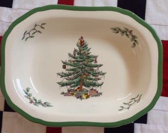 Vintage Spode Christmas Tree Oblong Vegetable Serving Bowl