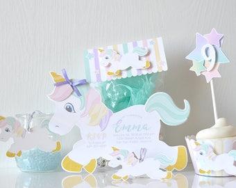 Rainbow Unicorn Invitations:  baby girl, birthday, colorful, fairytale, handmade, kids birthday, magical, pastels,sparkles-LRD049P