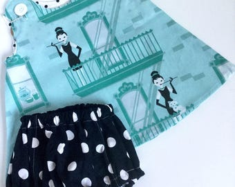 Audrey Hepburn and Breakfast at Tiffanys pattern Spoonflower fabric pinafore and bloomer set for baby girl.