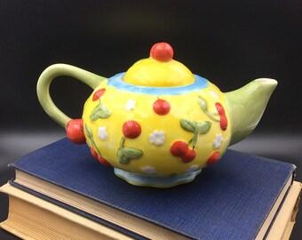 Oneida Teapot, Vintage Porcelain Tea Pot, Vintage Tea Pot, Cherries Tea Pot,  Cherry Blossoms