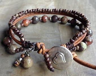 Green opal 8 mm bohemian bracelet hippie bracelet boho chic bracelet gypsy womens jewelry boho chic jewelry gemstone bracelet rustic jewelry