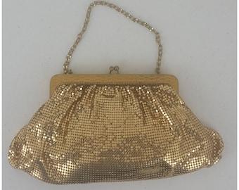 Vintage Whiting & Davis Gold Mesh Evening Handbag Purse Clutch Bag. Good vintage condition