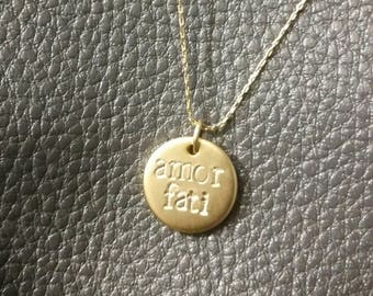 Amor Fati (Love your Fate) tiny charm/super fine chain necklace / gold jewelry / simple dainty classic necklace