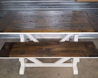 Trestle Leg Farmhouse Table and Bench