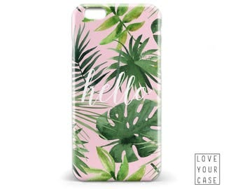 1477 // Pink Tropical Palm Tree Leaves Summer Quote Hello Phone Case iPhone 5/5S, 6/6S, 6+/6S+ Samsung Galaxy S5, S6, S6 Edge Plus, S7