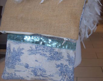 French toile and burlap bag trendy