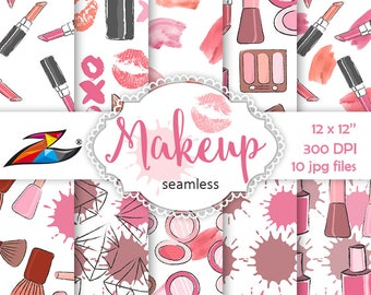 Sale Makeup Digital Paper Seamless pattern Kiss digital paper Nail polish pattern lipstick scrapbook paper girl make up hand drawn