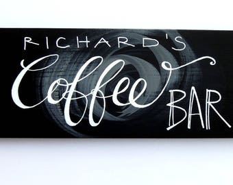 Coffee Bar sign, Personalized coffee sign, Personalized coffee gift, Coffee wall art, Coffee lovers, Coffee wood sign, Chalkboard coffee art