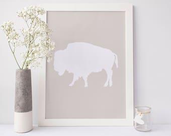 Buffalo Art Print, Bison Print, Printable Wall Art, Beige Prints, Digital Print, Digital Download Art, Bison Artwork, Buffalo Wall Poster