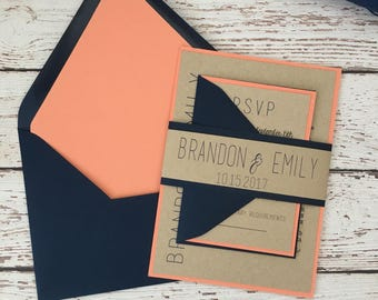 Navy Blue And Coral Wedding Invitation, Coral Wedding Invitation, Rustic  Modern Invitation, Belly
