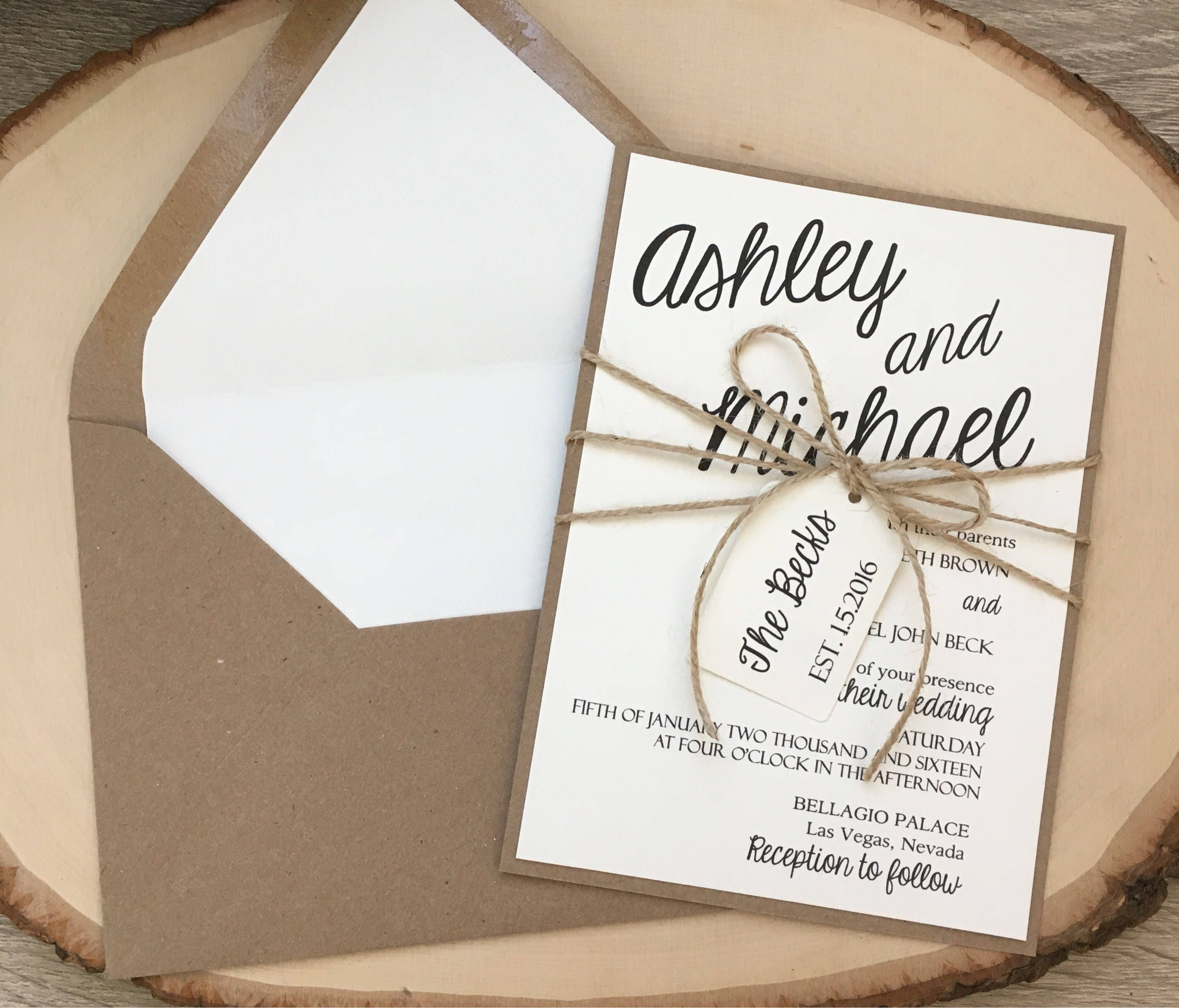 Wedding Invitations Kit: Rustic Wedding Invitation Wedding Invitation Kit Simple