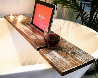 bath tray bathroom decor bath caddy wine glass rack ipad iphone candles champagne glass gift idea