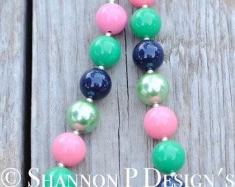 Navy, Green and Pink Chunky necklace