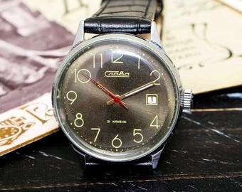 USSR Vintage Grey Green Slava Glory Soviet Russian Men's Watch with new leather strap