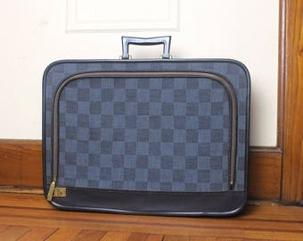 vintage 60s Mod slate blue checked Suitcase with streamline handle - luggage, carryon, weekender, overnight bag