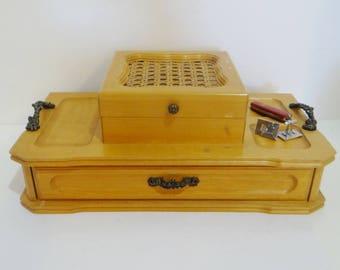 Vintage Mans Valet Jewelry Box Blonde Wood Cane Velvet Like Corduroy Interior Clean Well Built Mid Century