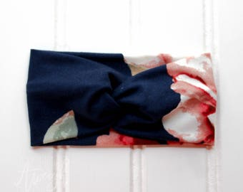Navy Chey Floral Faux Turban Headband