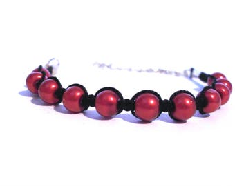 Black and Red macrame bracelet