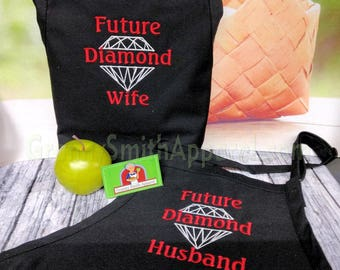 "Diamond Husband & Wife Embroidered Couple's Gift Aprons. Many colors fonts. 24""L x 28""W professional 3 pocket full bib. His can be longer!!!"