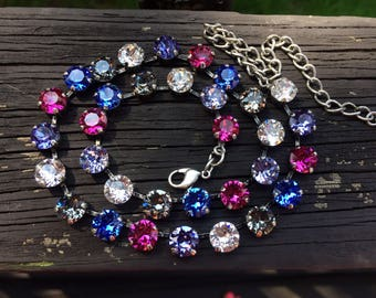 Swarovski crystal necklace blue pink crystal violet crystals 8mm silver setting