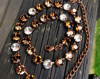 CHOCOLATE DRIZZLE swarovski crystal necklace 8mm copper setting topaz, brown, gold, crystal