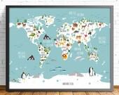 nusery world map,ENGLISH,animal world map,4 big SIZES INCLUDED,mapamundi print,kids room decor,baby room print,boy room print