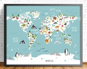 Kids World Map Etsy - Map pictures for kids