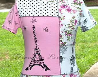 Paris pink t-shirt top, asymmetric jersey top, patchwork tee, Eiffel tower shirt, floral artsy t-shirt, black white polka dots, art to wear