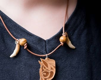 """Akela"" leather necklace and coyote tooth"