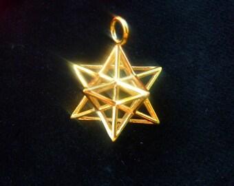 Solar Spirit Star *3D Sacred Geometry Jewelry Gold * stellated Dodecahedron * 12 Pentagram Pendant * Phi Harmony * Golden Mean Ratio Mandala