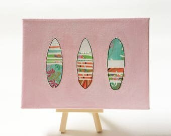 """Surfboard Collage - Origami Paper - Acrylic Painting - 7x5"""""""