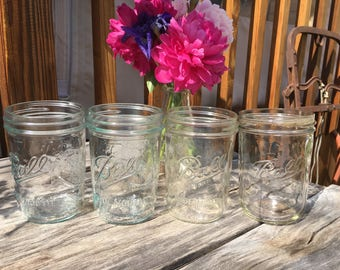 Nine 12 oz Wide Mouth Ball Sculptured Glass Mason Clear colored Canning Glass Jars - Wedding Decor/sewing storage/DIY projects VINTAGE JARS