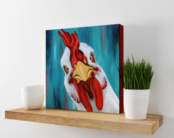 Chicken Print - Farmhouse Kitchen Decor - Funny Chicken Art - Colorful Chicken Painting - Vegan Art Print  - Chicken Print - Farmhouse decor