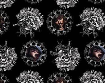 Pirates of the Caribbean Fabric Captain Jack Sparrow Fabric  / SC 16312 Disney Fabric / Pirates of the Carabbean Yardage and Fat Quarters