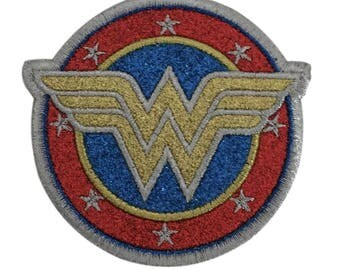 Wonder Woman Shield Glitter Design Cosplay 3.5 Inch Wide Iron On Appliqué Patch