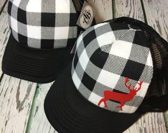 Buffalo plaid, buffalo plaid hat, buffalo plaid trucker hat, buffalo plaid fashion, buffalo plaid snapback, snapback, buck, buck fashion